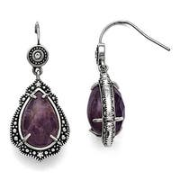 Chisel Stainless Steel Polished/Antiqued CZ Amythest Earrings