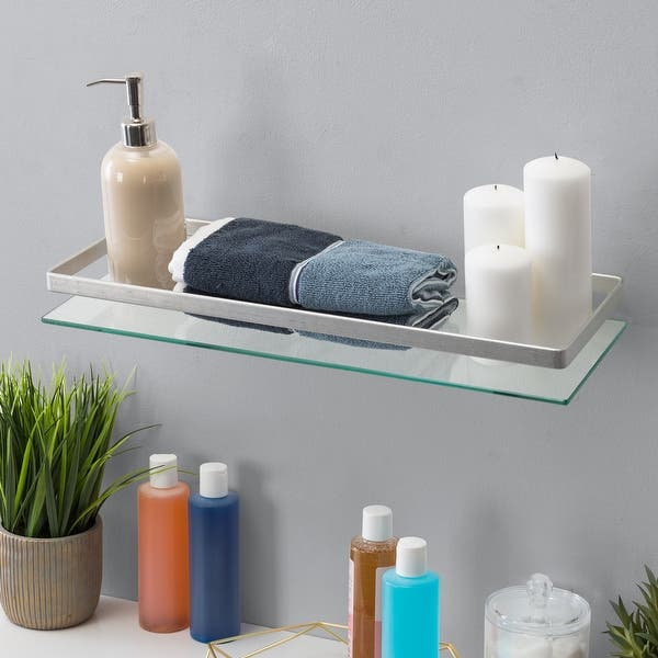 Floating Wall Mount Tempered Glass Bathroom Shelf With Brushed Chrome Rail Overstock 31809583