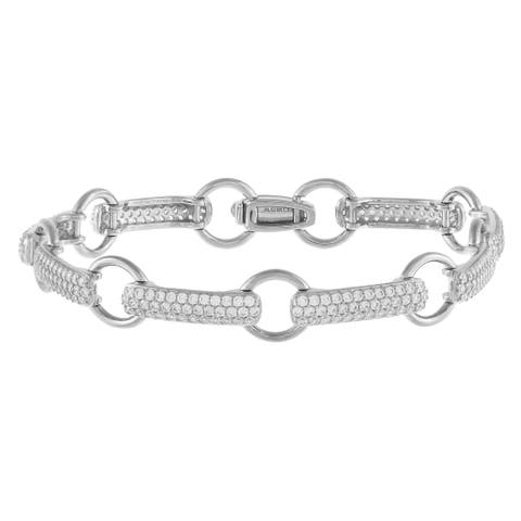 Open Link Pave-Set Cubic Zirconia Tennis Bracelet, Sterling Silver