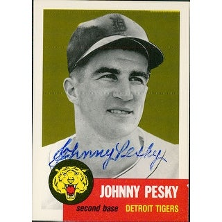 Signed Pesky Johnny Detroit Tigers 1953 Reprint Topps Baseball Card Bubbling of the signature autog