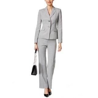 Le Suit NEW Gray Women's Size 12 Two-Button Textured Pant Suit Set