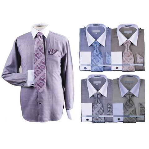 Men's Glenplaid Cotton Shirt Tie Cufflink Set