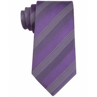 Kenneth Cole Reaction NEW Purple Gray Elegant Stripe Men's Neck Tie Silk 439