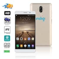 Indigi Unlocked 4G LTE 6-inch Android 7.0 Nougat SmartPhone 8Core @ 1.3GHz (13MP CAM + Fingerprint Scan + 2 SIM Slots) (Gold)