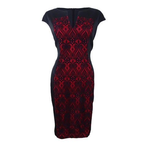 Connected Women's Lace-Panel Sheath Dress - Black/Red