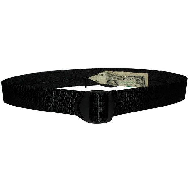 Bison Designs Crescent Black Buckle Money Belt - Black