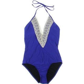 Ella Moss Womens Lace Trim Halter One-Piece Swimsuit - L