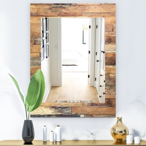 Designart 'Wood IV' Modern Printed Wall Mirror
