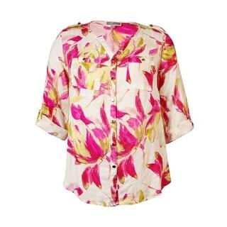 JM Collection Women's Floral Button-Down Linen Shirt - painted blossom