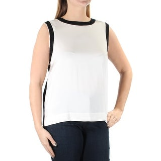DKNY Womens New 1246 Black Ivory Jewel Neck Sleeveless Casual Top L B+B