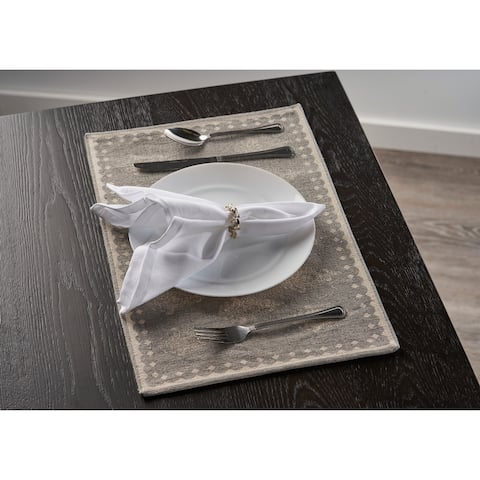 """Gray Fairytale Motif Bordered Place Mat - 1'-1"""" X 1'-7"""""""
