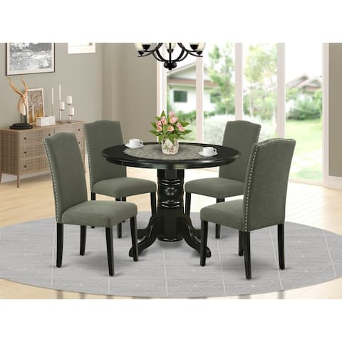 Round 42 Inch Table and Parson Chairs in Dark Gotham Grey Linen Fabric (Number of Chairs Option)