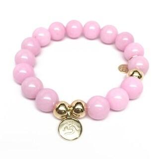 """Pink Jade Om Charm 7"""" Bracelet"""