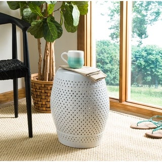 Link to Safavieh Paradise Courtyard White Ceramic Decorative Garden Stool Similar Items in Outdoor Decor