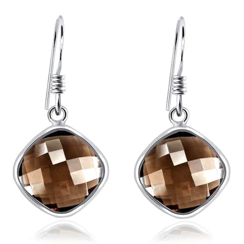 Smoky Quartz Sterling Silver Cushion Dangle Earrings by Orchid Jewelry