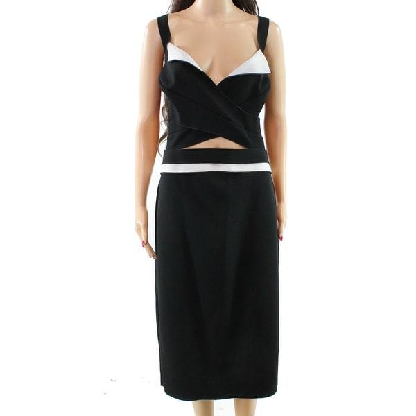 Shop Nicole Bakti Black White Womens Size 12 Cut Out Sheath Dress