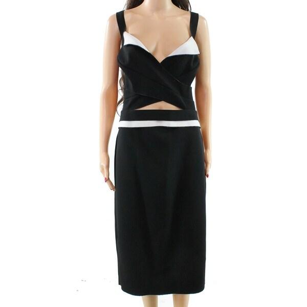 9f843362c88d Shop Nicole Bakti Black White Womens Size 12 Cut Out Sheath Dress