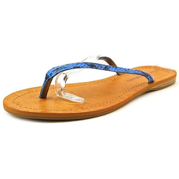 Lucky Brand Amberr Women Open Toe Canvas Blue Thong Sandal