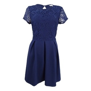 Speechless Juniors' Lace Scuba Fit & Flare Dress (L, Navy) - Navy - L