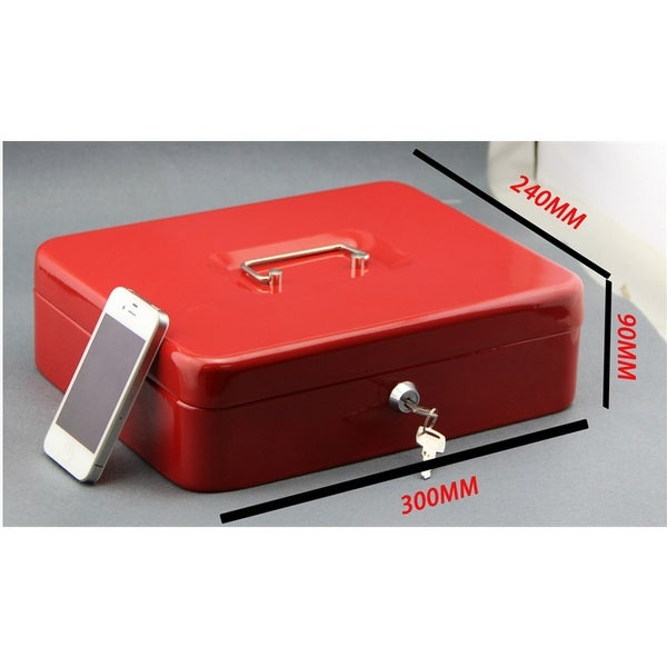 Metal Cash Box with Money Tray Lock /& Key For Cashier Drawer Money Safe Security