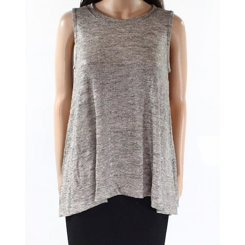 Nally & Millie Brown Women Size XS Metallic Scoop-Neck Knit Tank Top