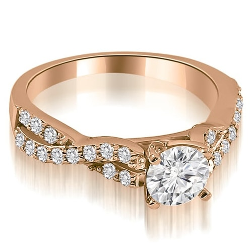 0.90 cttw. 14K Rose Gold Twisted Split Shank Round Cut Diamond Engagement Ring
