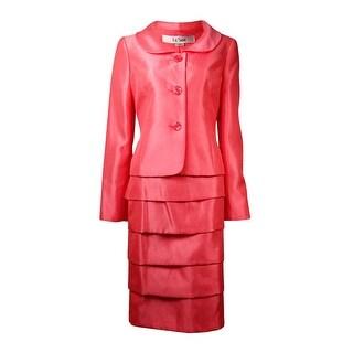 Le Suit Women's City Blooms Tiered Dupioni Skirt Suit - Coral