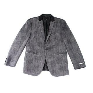 INC NEW Sharkskin Gray Mens Size Large L One Button Velvet Blazer