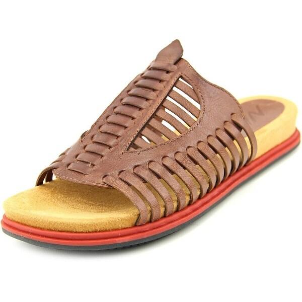 Naya Kicker Women Open Toe Leather Brown Slides Sandal
