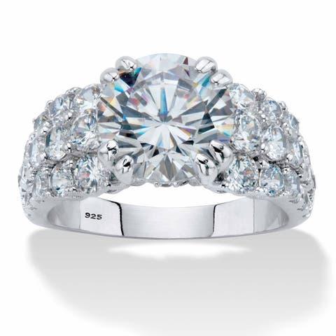 Platinum over Silver Round Cubic Zirconia Multi Row Engagement Ring