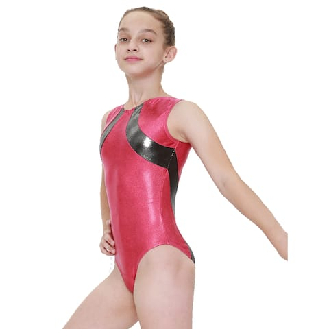 Girls Rouge Charcoal Sol Mystique Gymnastics Fancy Leotard 8