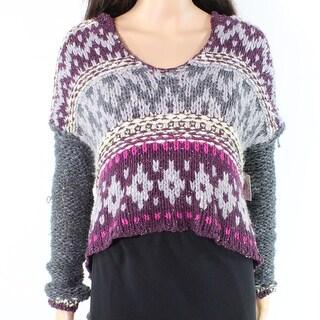 Free People NEW Purple Grey Knit Hooded Hi-Low Women's Size XS Sweater