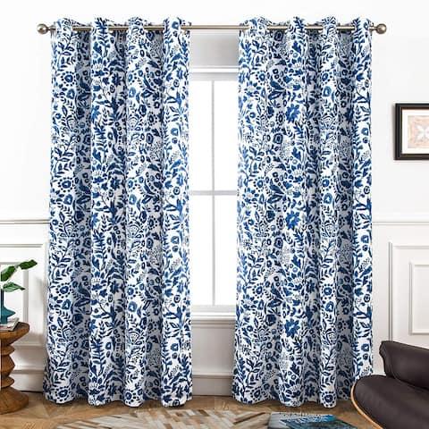 Porch & Den Ouzel Floral Watercolor Blackout Lined Window Curtain Panel Pair