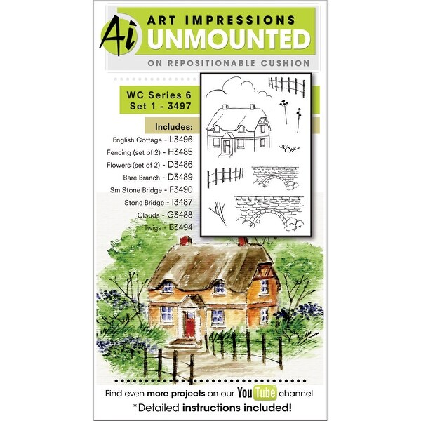 "Art Impressions Watercolor Cling Rubber Stamps 4""X7""-Series 6 Set 1"