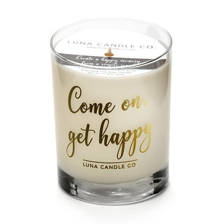 Warm Vanilla Scented Glass Candle, Premium Soy Wax,Slow Burn