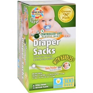 Eco-Friendly Bags Green N Pack Diaper Sacks Baby Powder Scented - (Case of 1 - 300 Bags)