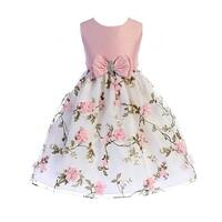 Crayon Kids Girls Pink Floral Print Easter Flower Girl Dress