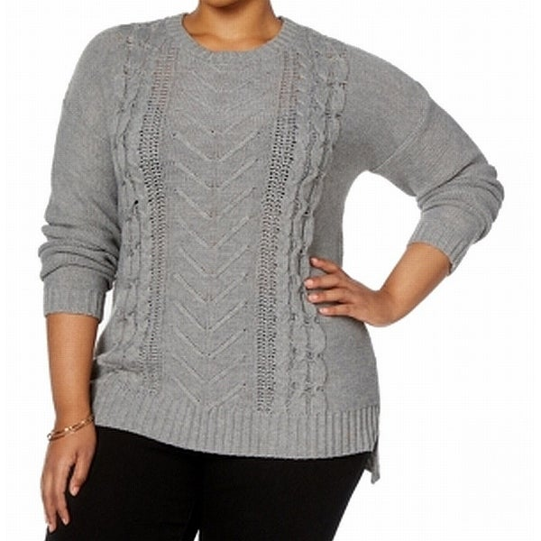 NY Collection Gray Women's Size 2X Plus Cable Knit Crewneck Sweater