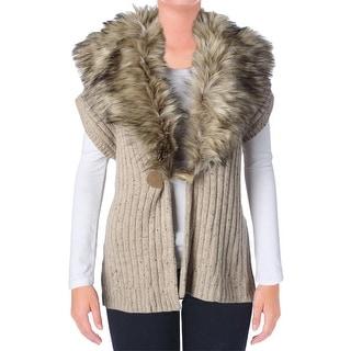 Lauren Ralph Lauren Womens Wool Blend Faux Fur Casual Vest