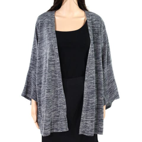 Style & Co Womens Sweater Gray Size 2X Plus Marled Bell-Sleeve Cardigan