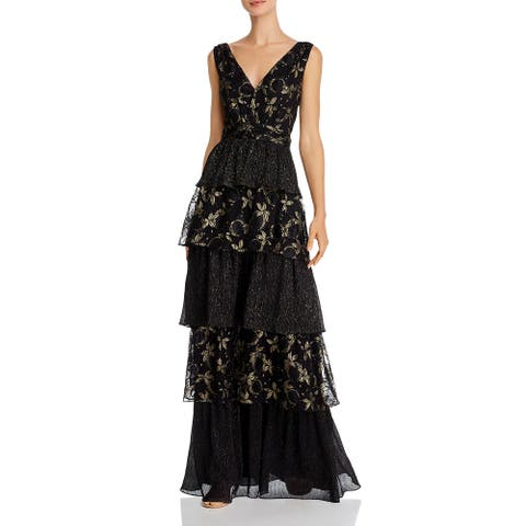 Rachel Zoe Womens Payten Evening Dress Lace Tiered - Black