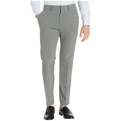 Kenneth Cole Men's Slim-Fit Stretch Pinstripe Dress Pants, Gray, 36x32