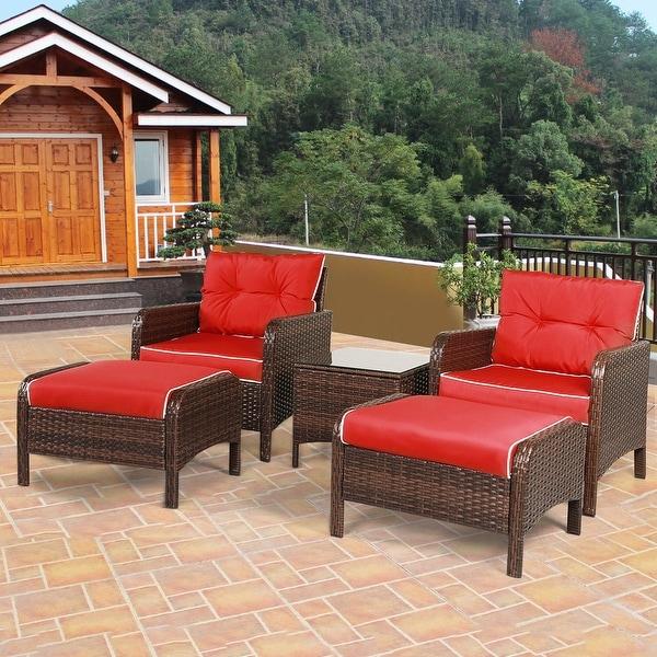 Shop Costway 5 Pcs Patio Rattan Wicker Furniture Set Sofa