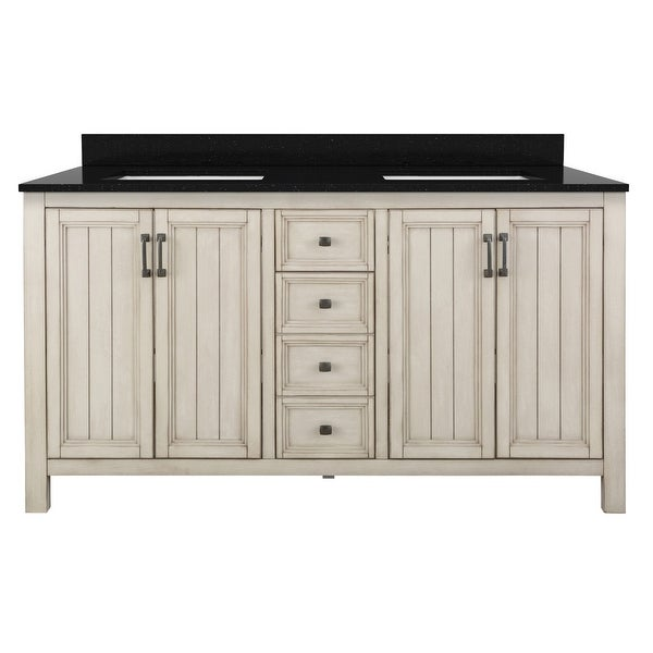 "Miseno MVAG6021 Helena 60"" Free Standing Double Basin Vanity Set with Wood Cabinet and Stone Vanity Top"