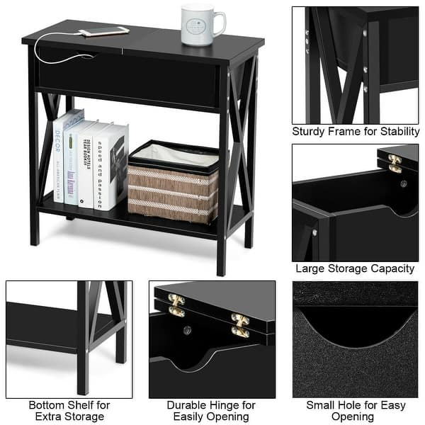 Flip Top End Table Sofa Side Console Table W//Shelf Hidden Hinged Storage Brown