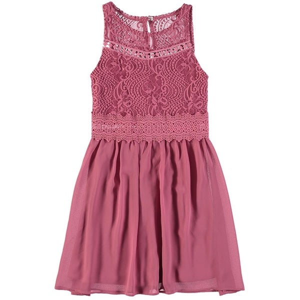 3ca09a4da616 Shop Amy Byer Girls 7-16 Lace Bodice Chiffon Skirt Dress - Free Shipping On  Orders Over  45 - Overstock - 19432851