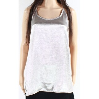 Vince. NEW Silver Womens Size Small S Metallic Cross-Back Blouse