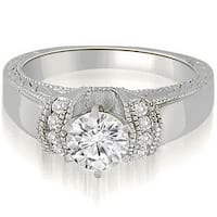1.10 cttw. 14K White Gold Antique Style Cathedral Round Diamond Engagement Ring