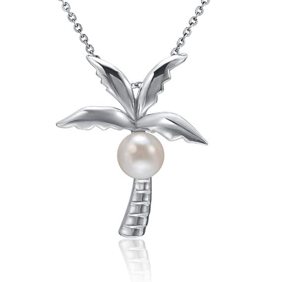 "Palm Tree Pearl Necklace Sterling Silver Pendant 18"" Chain"