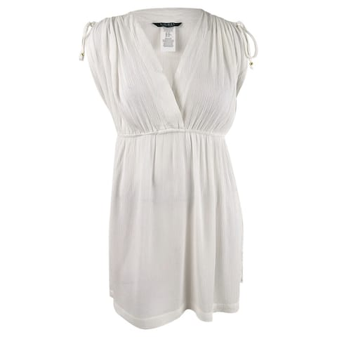 Lauren by Ralph Lauren Women's Plus Size Crinkle Farrah Dress Swim Cover-Up - White